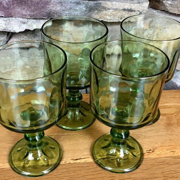 Vintage Wine Glasses Retro MCM Barware Set of 4